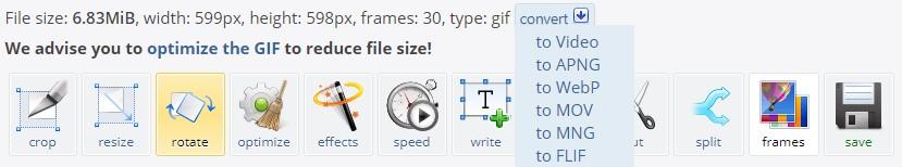 La barre des options sur ezgif.com