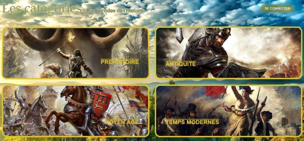 Les catégories BestofDocs par période de l'Histoire