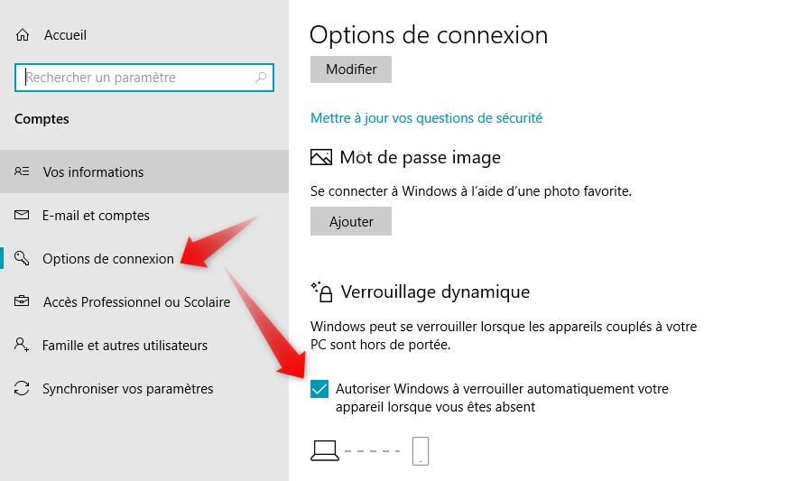 Options de connexion Bluetooth Windows 10