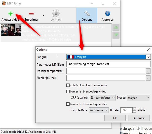 MP4joiner pour combiner des fichiers MP4