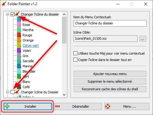 Folder Painter, installer des packs d'icônes