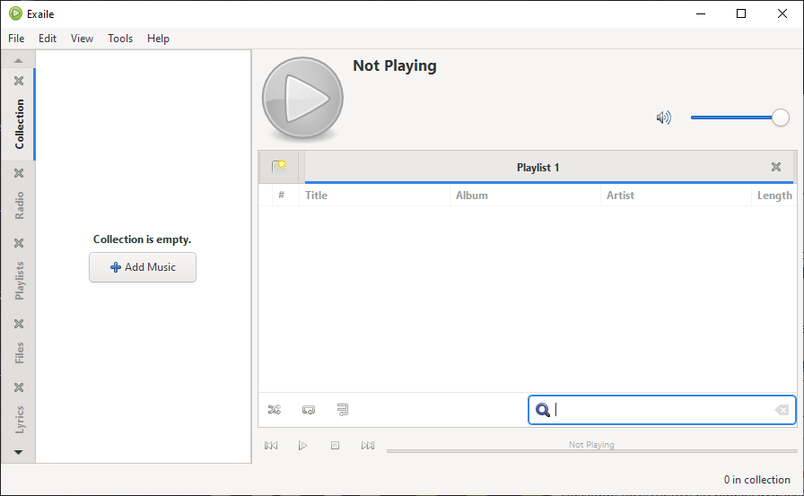 L'interface du lecteur musical Exaile