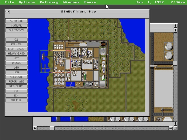 capture écran de la carte du jeu Sim Refinery