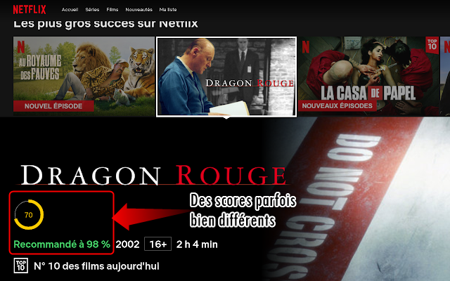 Affichage des scores Allociné sur Netflix