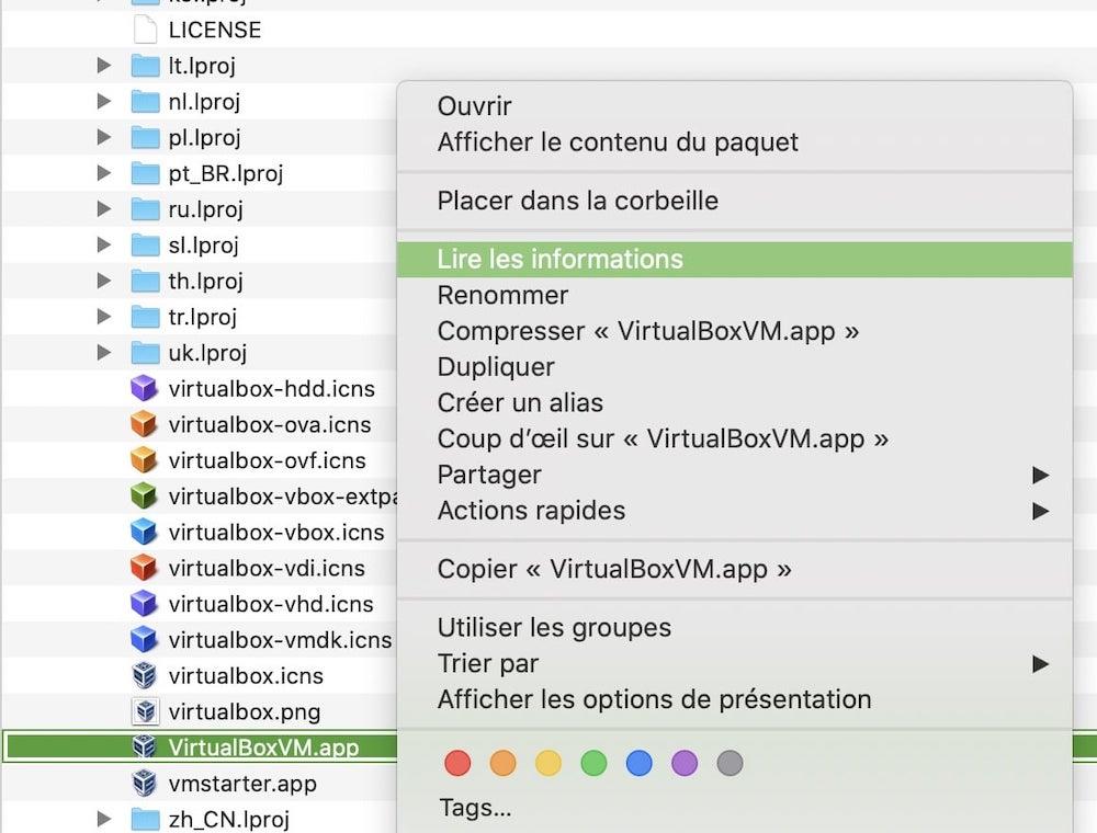 lire les informations du programme VirtualboxVM
