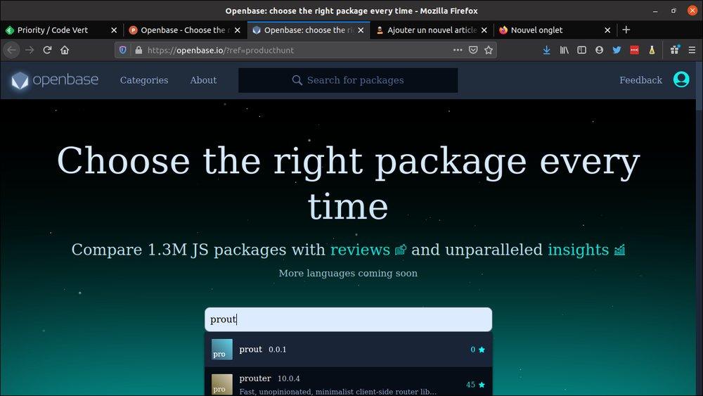 OpenBase – Pour vous aider à bien choisir une lib JS