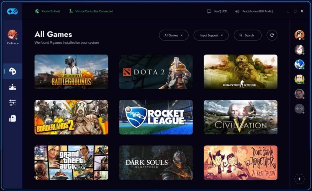 Vue de l'interface Rainway avec la liste des jeux disponibles