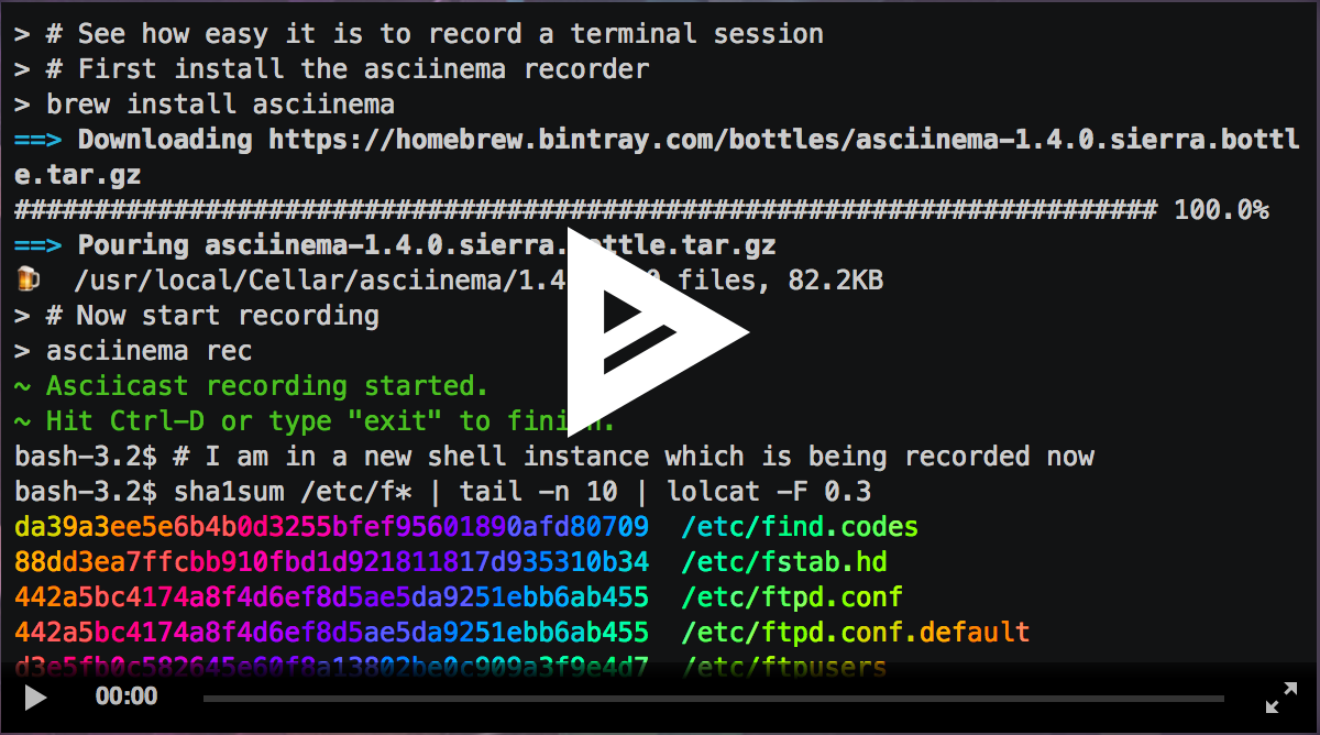Asciicast2gif – Faites des GIFs animés à partir de vos sessions de terminal