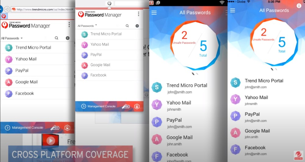 Interface mobile Trend Micro PAssword Manager