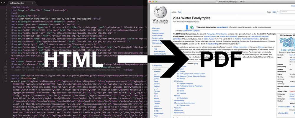 Convertir du HTML en PDF / images