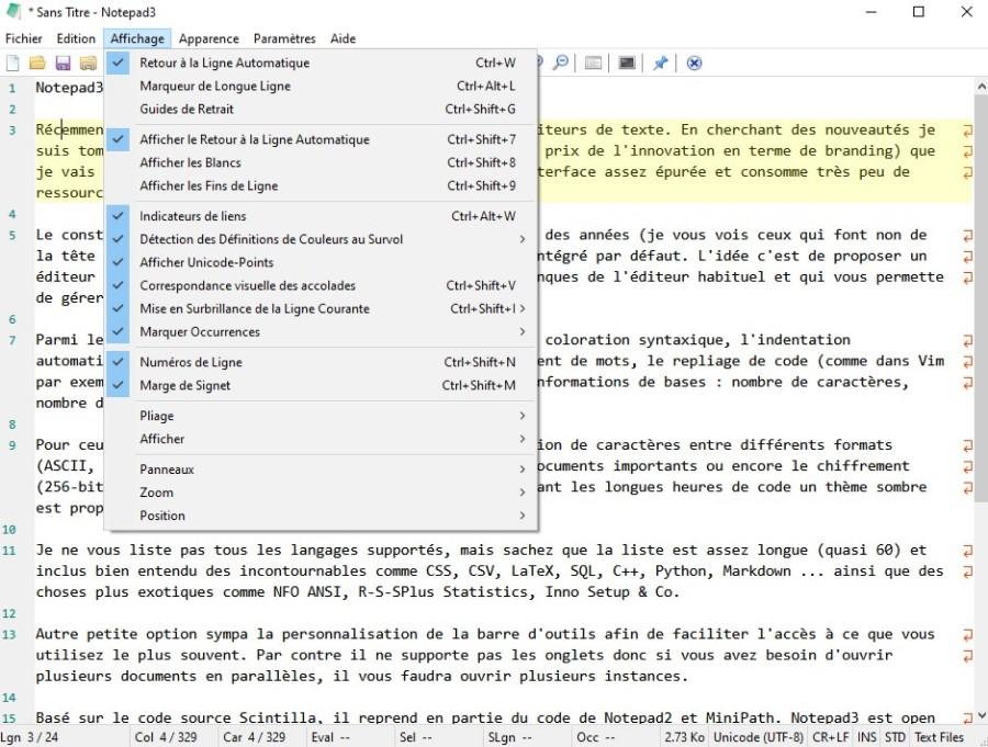 Notepad3, les options d'affichage