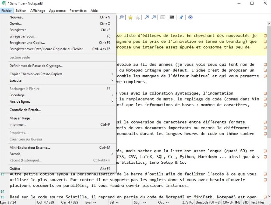 L'interface de Notepad3, un éditeur de texte pour windows