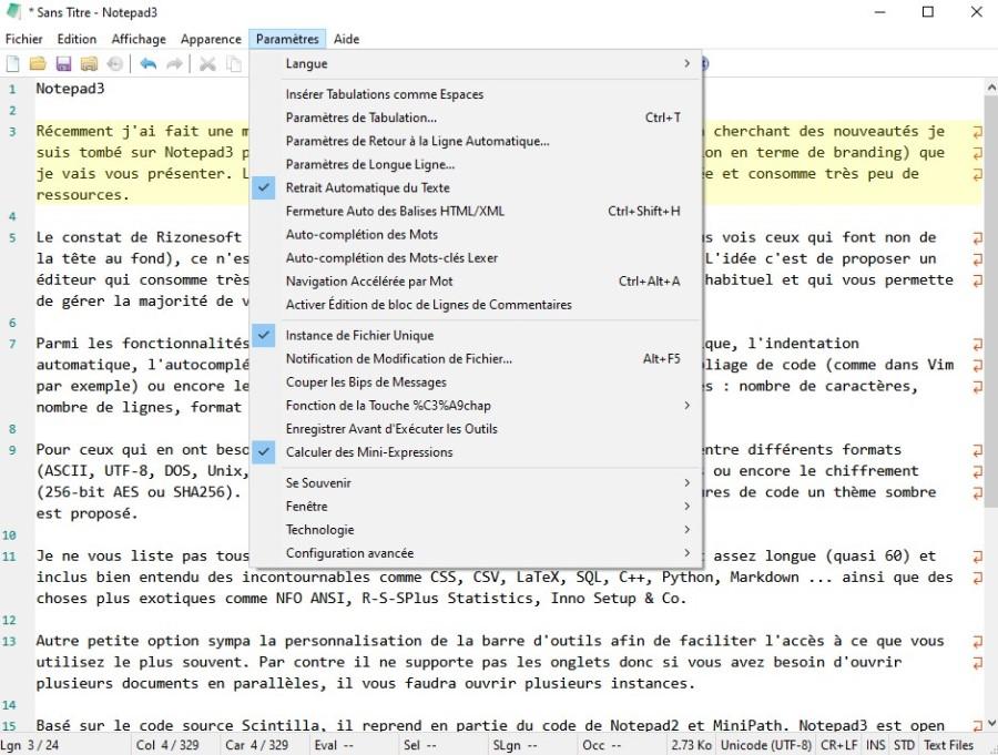 image du panneau des paramètres de Notepad3