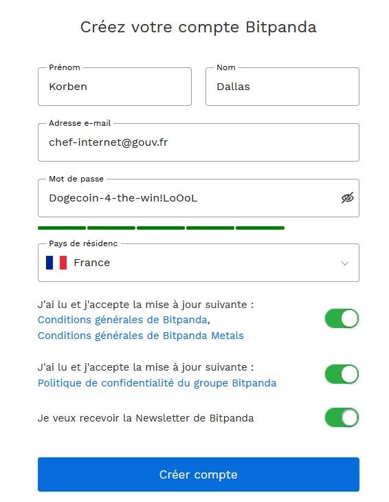 Formulaire de création de compte sur Bitpanda
