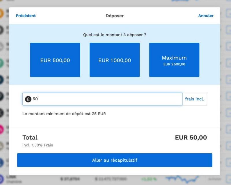 Déposer de l'argent sur son compte Bitpanda