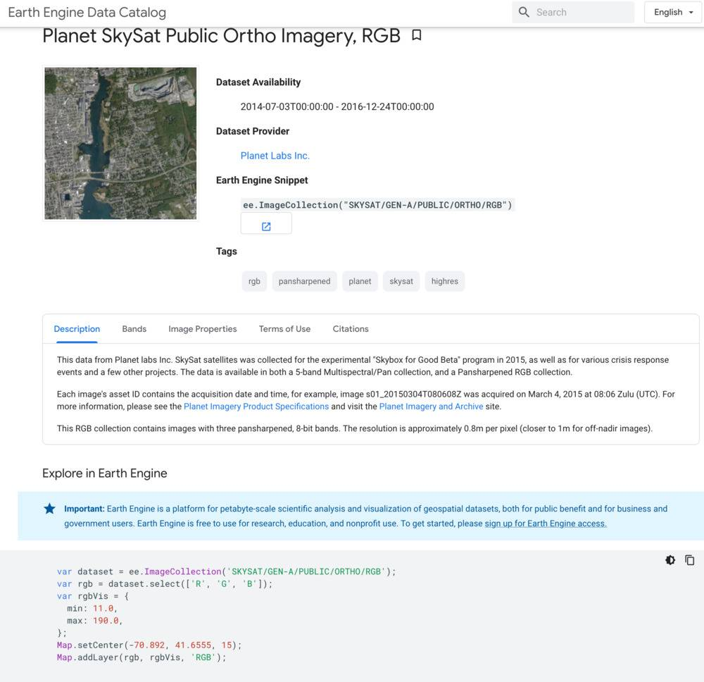 Catalogue de Google Earth Engine