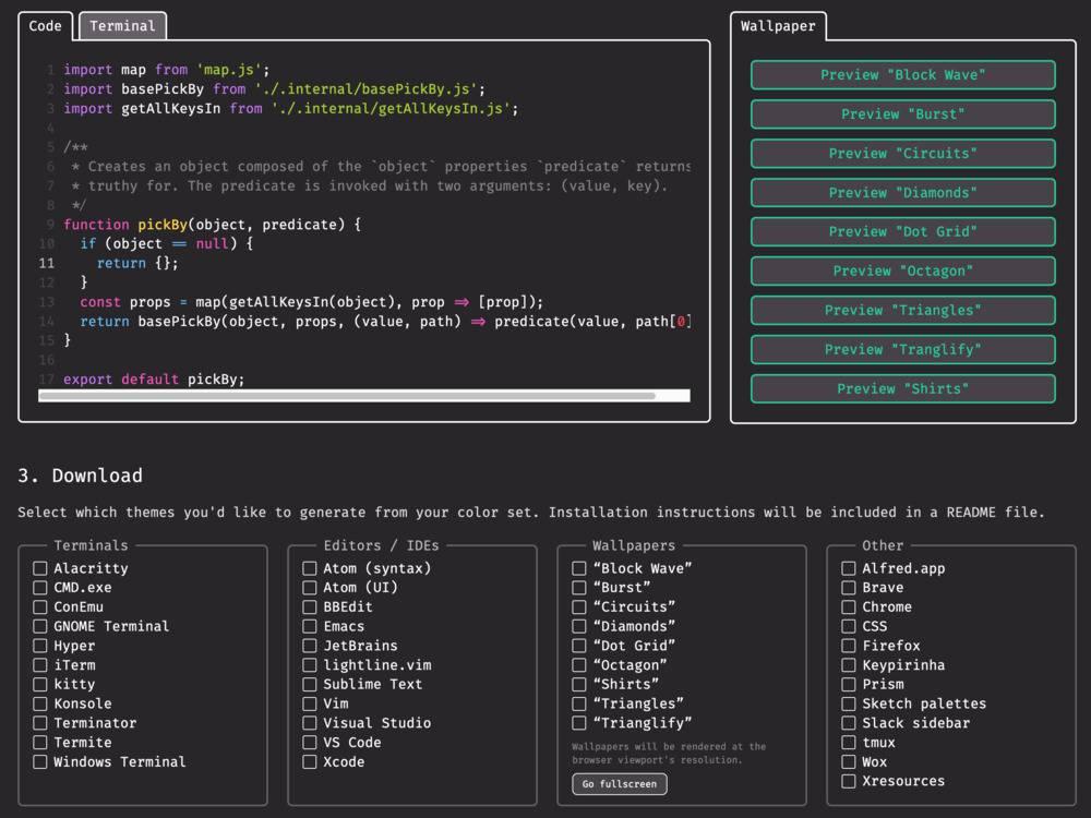 Interface themer avec fonds d'écran