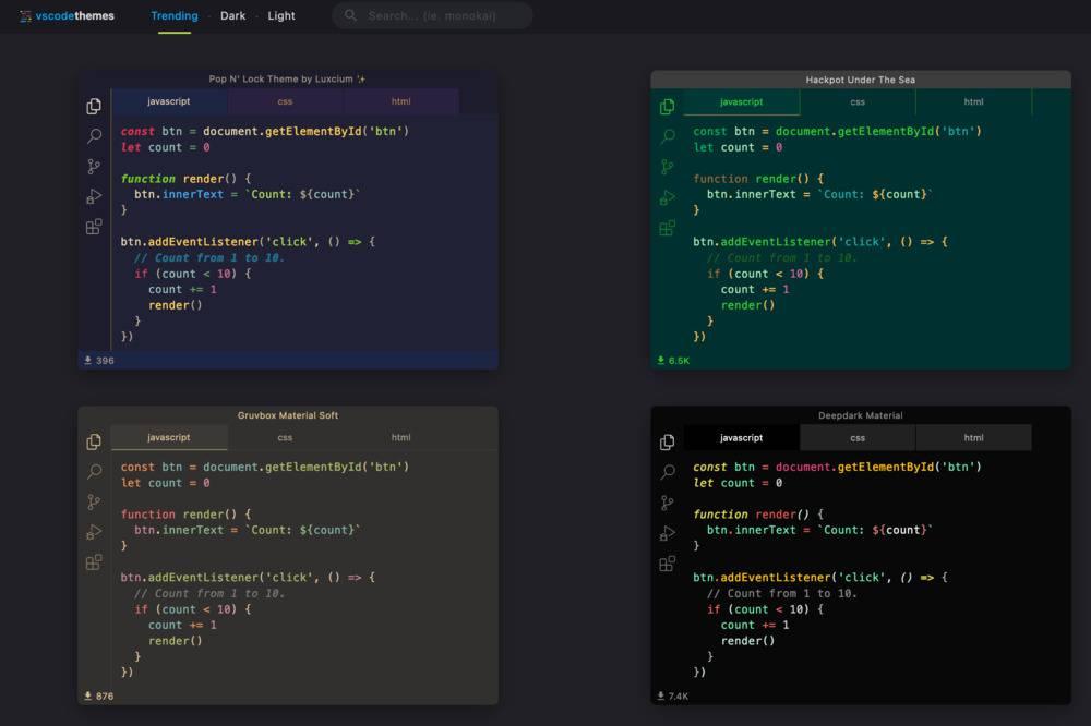 capture écran de VS Code Theme