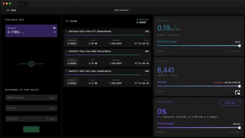 Interface du logiciel de node pour Aioz