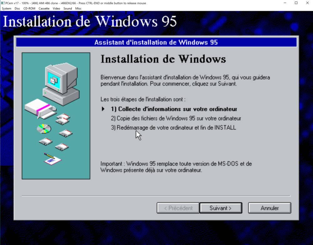 Installation de Windows 95