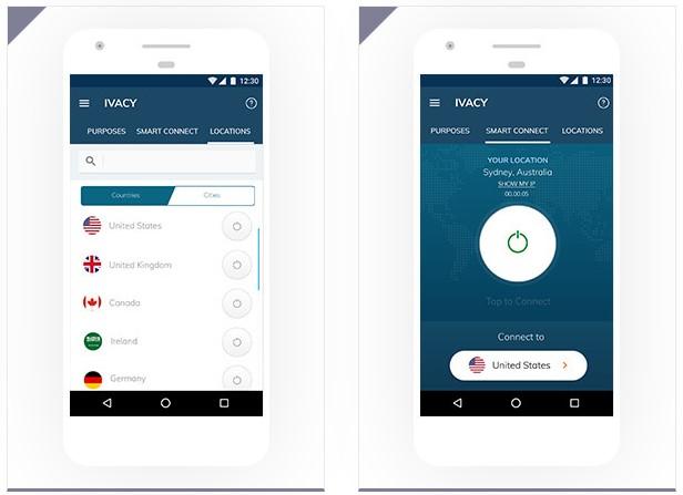 L'interface mobile de l'appli Ivacy VPN