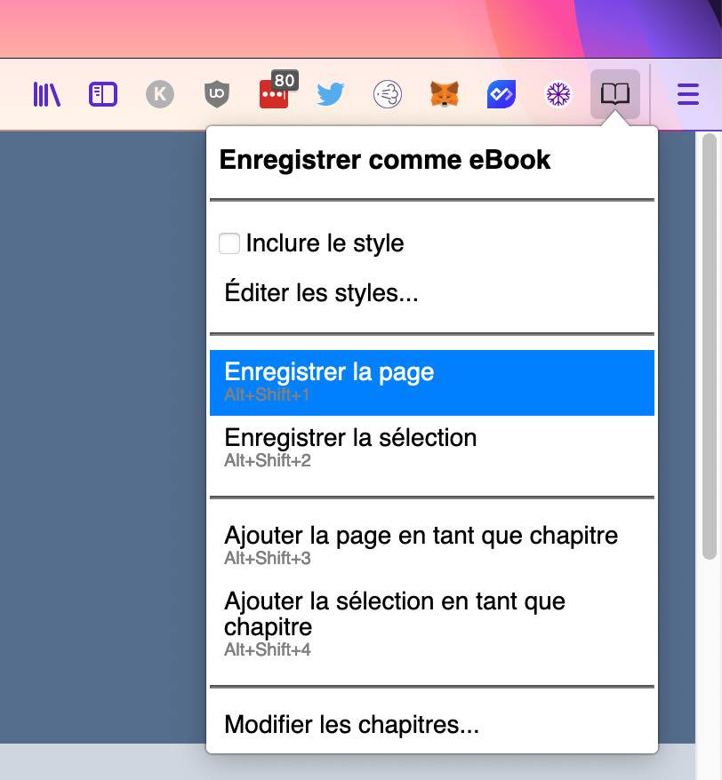 save as ebook extension