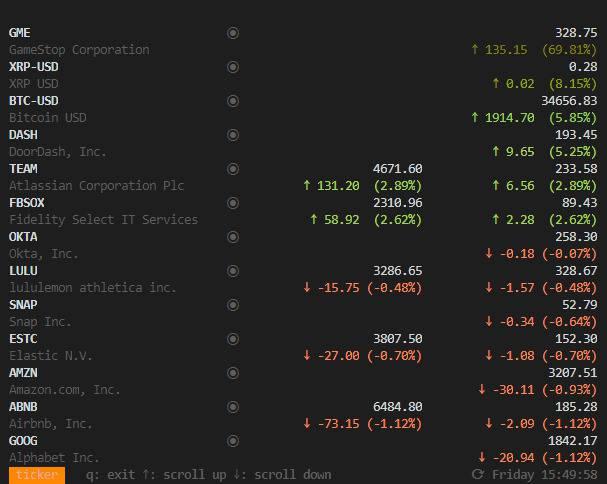 valeurs bourse dans le logiciel ticker