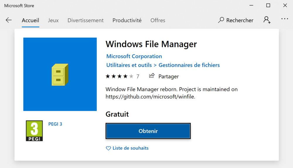 Windows File Manager dans le Microsoft Store