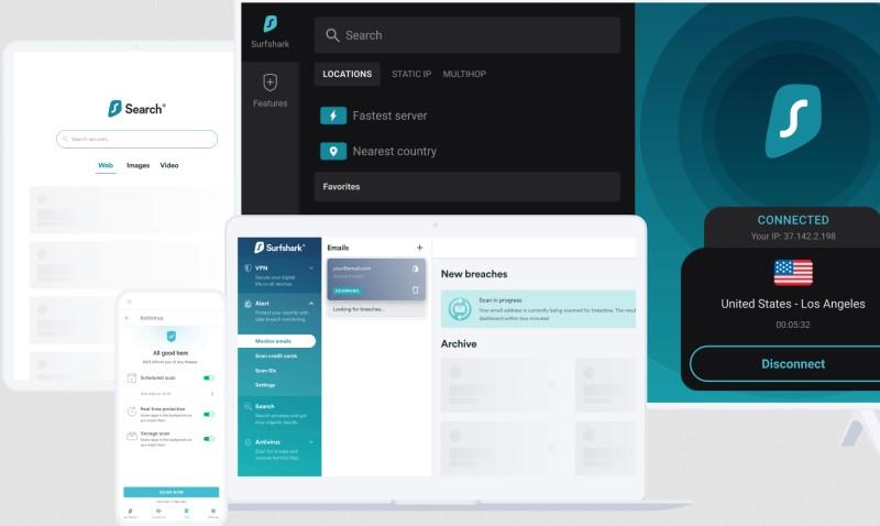 Interface Surfshark One : moteur de recherche, antivirus et alertes