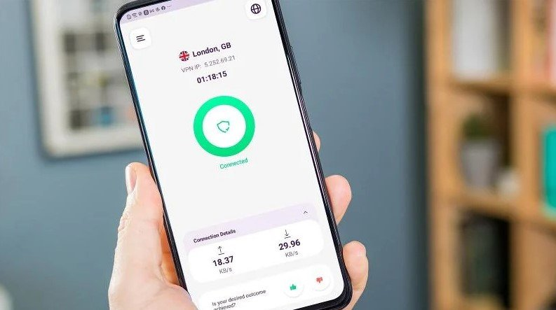 Interface PureVPN pour les téléphones mobiles